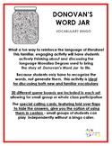 Donovan's Word Jar vocabulary bingo