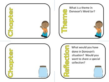 Donovan's Word Jar by Monalisa DeGross Comprehension and Vocabulary Task Cards
