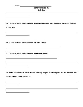 Donavan's Word Jar Skills Assessment