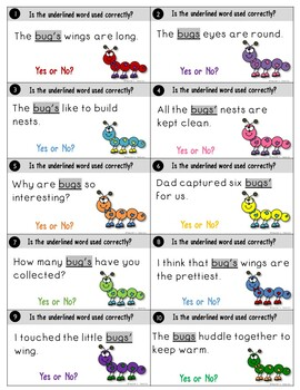 Plurals and Possessives Task Cards Bug Theme