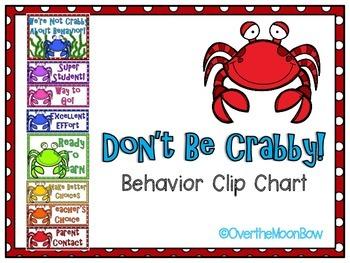 Don't Be Crabby! Themed Behavior Clip Chart