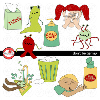 Don't Be Germy Clipart Set by Poppydreamz