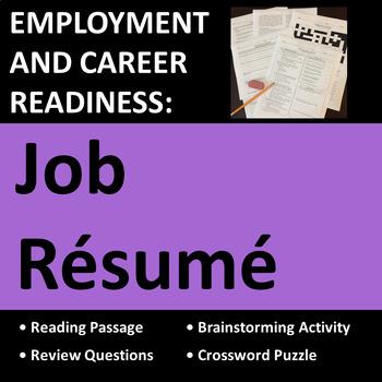 Employment & Career Readiness: Job Resume Activities