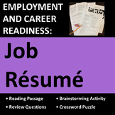 Employment & Career Readiness: Job Resume Activities