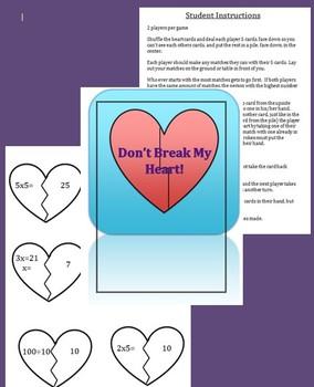 Don't Break My Heart Valentine Math Game