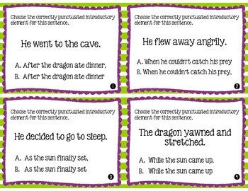 Don't DRAG ON and On: Task Cards for Correct Comma Usage