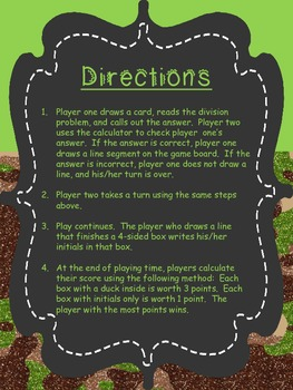 Division Review Game - Don't Duck - Long Division Style Math Game