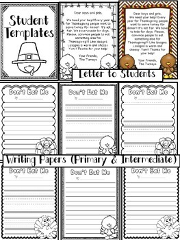 Don't Eat Me! A Turkey Persuasive/Opinion Writing Craftivity (CCSS)
