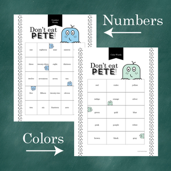 Don't Eat Pete!: Color Words & Number Words Game