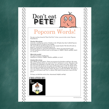 Don't Eat Pete!: First Grade Popcorn Words Game