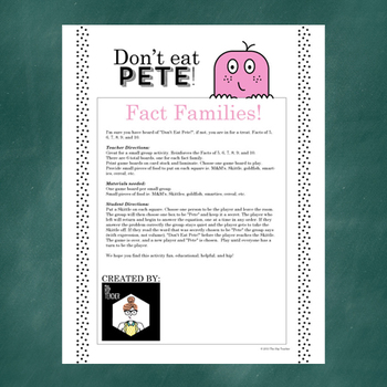 Don't Eat Pete!: Math Fact Families Game