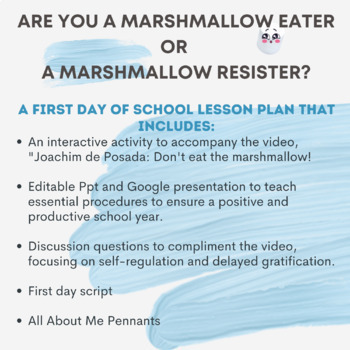 Don't Eat the Marshmallow- 1st day of school activity