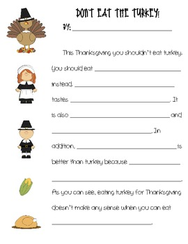 Don't Eat the Turkey Persuasive Writing