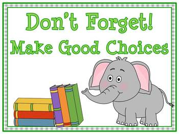 Don't Forget! Elephant Themed Behavior Clip Chart