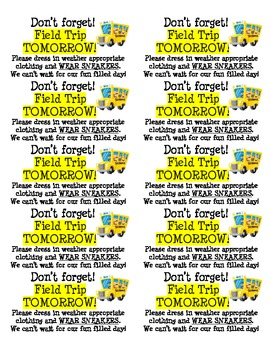 Don't Forget! Field Trip Reminder Labels