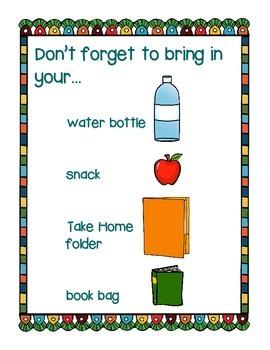 Don't Forget...Morning Reminder Poster and Homework Reminder