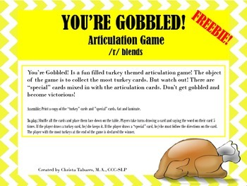 Don't Get Gobbled! Articulation Game FREEBIE!