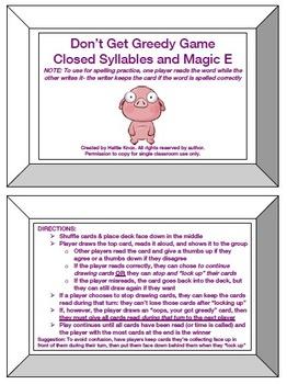 Don't Get Greedy:Closed & Magic E Game-Orton Gillingham Phonics/Reading/Spelling