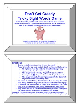 Don't Get Greedy: Sight Words Game- Orton Gillingham Phonics/Reading/Spelling