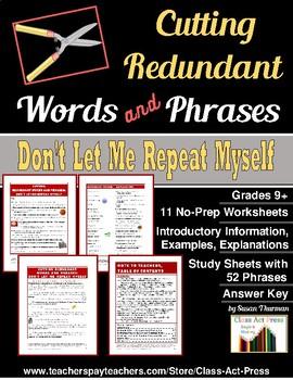 Writing Fun: Eliminating Redundancy Worksheets