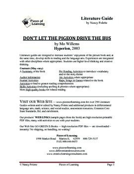 Don't Let the Pigeon Drive the Bus Literature Guide
