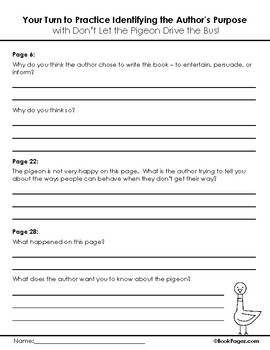 Don't Let the Pigeon Drive the Bus Lesson Plans & Activities, Second Grade