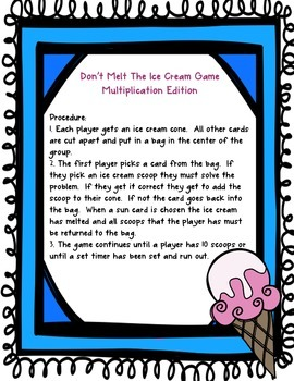 Multiplication Facts Game - Don't Melt The Ice Cream