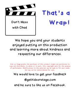 Don't Mess with Chad - Readers' Theater Play - early readers - on kindness