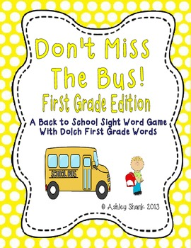 Don't Miss the Bus! A Back to School Sight Word Game - Dolch 1st Grade Words