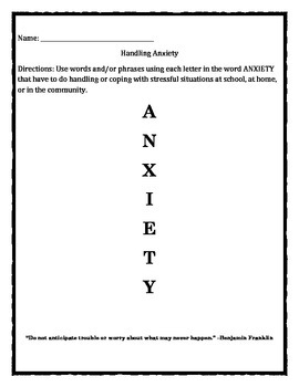 Don't Pop Your Cork On Mondays! Anxiety / stress worksheet