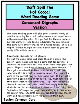 Don't Spill the Hot Cocoa Word Reading Game - Consonant Digraphs sh, th, ch