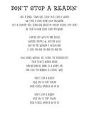 Don't Stop A Readin' Lyrics (Read Across America Week)