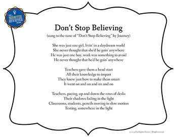 Testing Song Lyrics for Don't Stop Believing