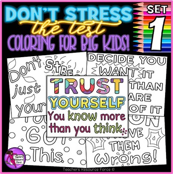 Growth Mindset Coloring Pages / Posters: Don\'t Stress The Test | TpT