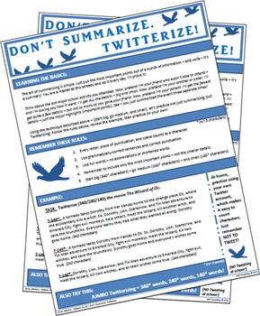 Don't Summarize. Twitterize! Or Jumbo Twitterize! (Easy Summary Techniques)