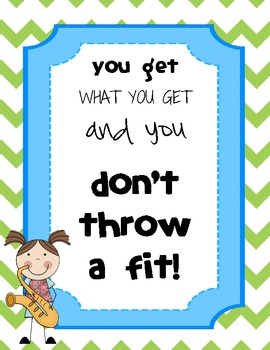 """""""Don't Throw a Fit"""" Classroom Sign"""