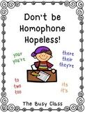 Don't be Homophone Hopeless!