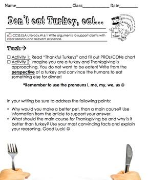 Dont eat turkey, eat... Thanksgiving Persuasive Letter