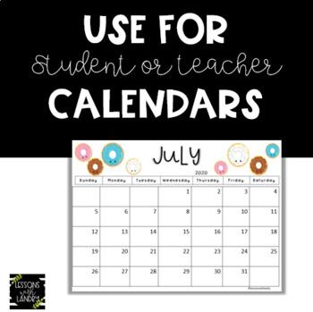 Donut 2017-2018 School Year Calendar {EDITABLE}