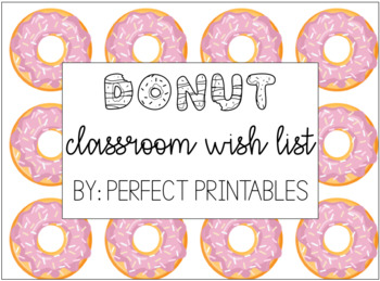 Donut Classroom Wishlist - Editable