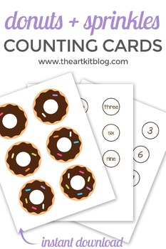 Donut Counting Cards - Playdough Mats - Activity Sheets for Number Practice