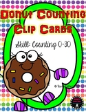 Donut Counting Clip Cards Numbers 1-30 Kindergarten Preschool Center