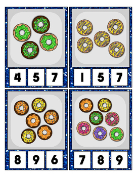 Donut Counting to 20 Clip Card Math Center for Preschool & Daycare