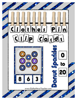 Donut Counting to 20 Clip Card Math Center for Preschool &