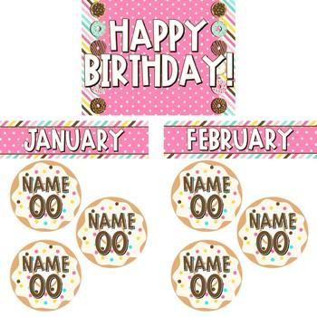 Donut Decor - Editable Birthday Display