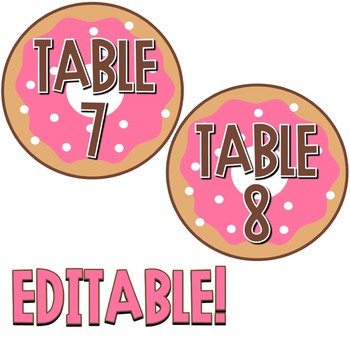 Donut Decor - Editable Table Number Signs