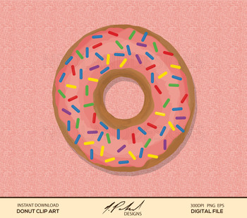 Donut Digital Art - Digital File - Doughnut Clipart - Donut Digital Clipart