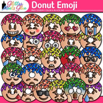Donut Emoji Clip Art | Bakery Doughnut Emoticons and Smiley Faces for Brag Tags