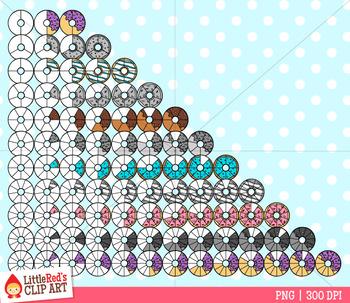 Donut Fractions Clip Art
