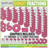 Donut Fractions Clipart - 78 illustrations!